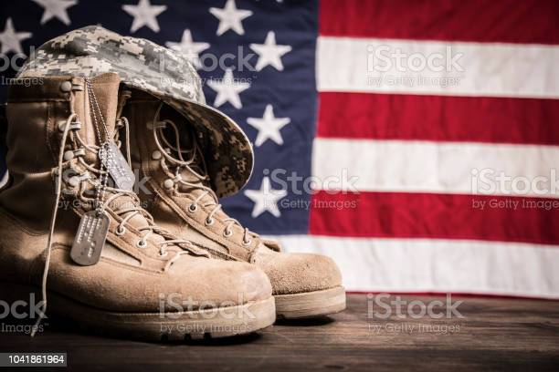 American veterans day theme with military boots hat usa flag picture id1041861964?b=1&k=6&m=1041861964&s=612x612&h=bufuhphznwtanubf zpwpcy71wlggsdiycquqdx4lxw=