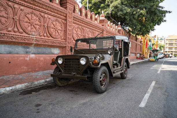 American vintage car Willys jeep Phnom Penh, Cambodia. 18 January 2019: American vintage car Willys jeep willys stock pictures, royalty-free photos & images