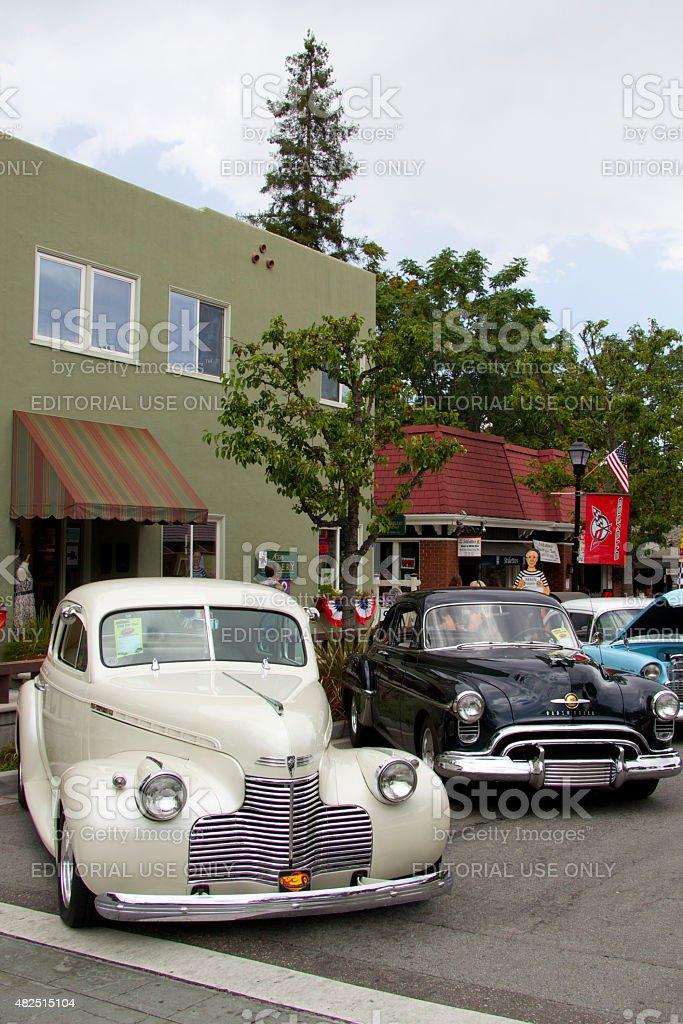 Saratoga, California, USA - July 19, 2015: Two vintage American cars:...