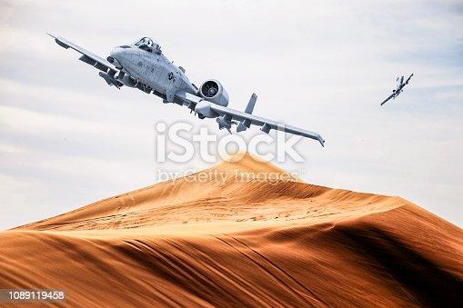 American warplane a10 flies over desert