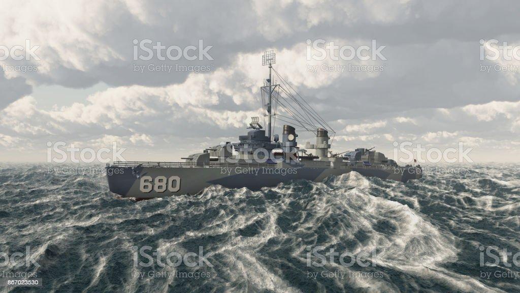 American warship of World War II stock photo