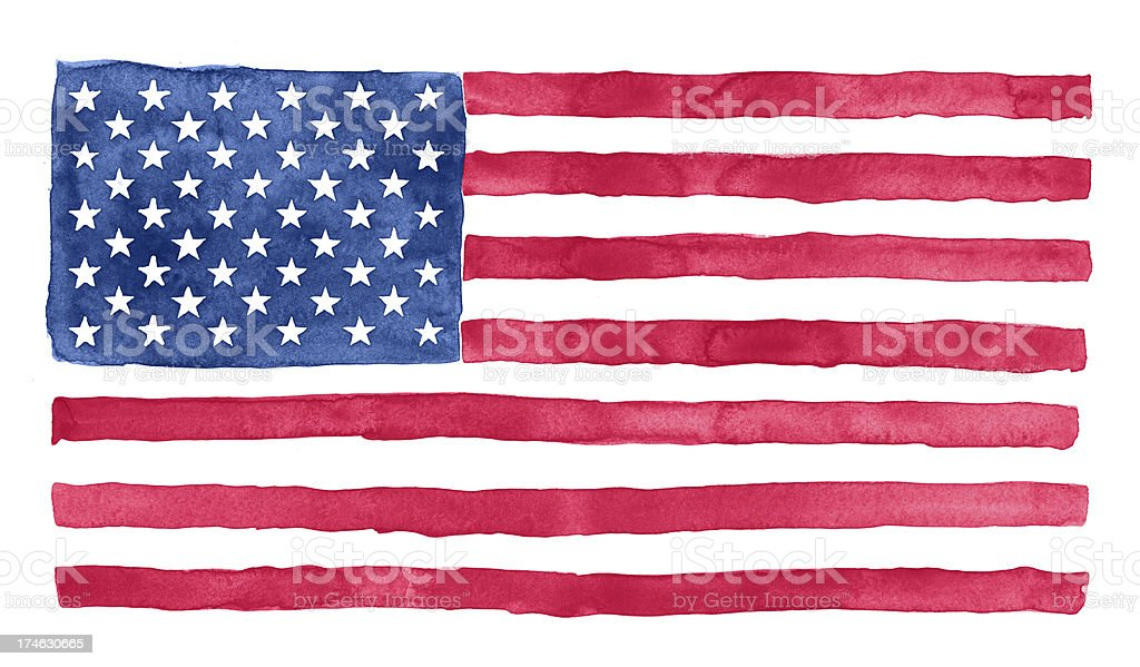 American watercolor flag stock photo