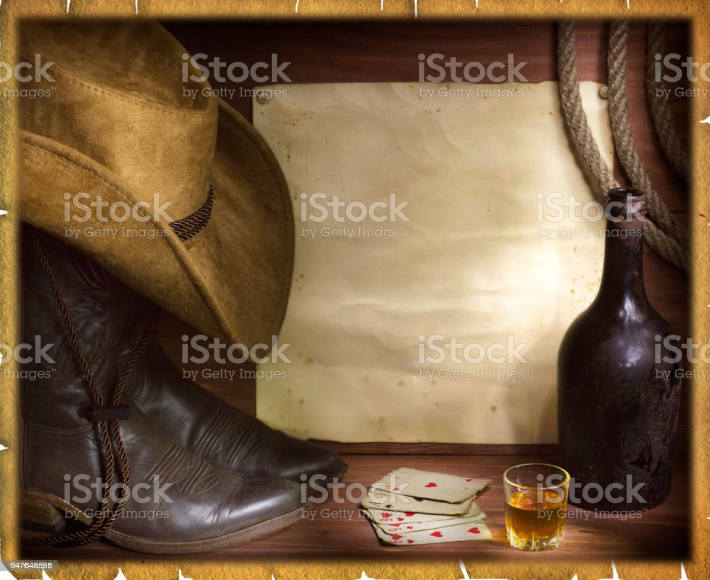 American west background with poker cards stock photo