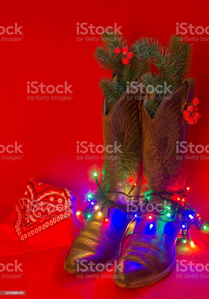 Cowboy Weihnachten Hintergrund Mit Traditionellen