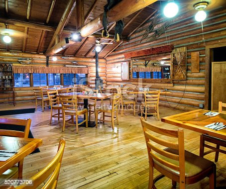 American western log cabin restaurant dining room interior for Log cabin cafe