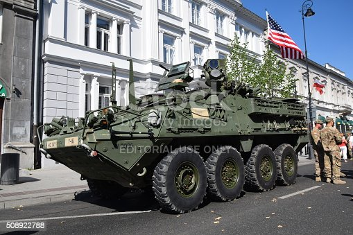 Warsaw, Poland, 15,th August 2015: The military wheeled armored vehicle Stryker stopped on the street before the parade on the Polish Armed Forces Day. The Stryker vehicle is powered by diesel engine (pushing out 350 HP). This vehicle was created for example for the army forces in Iraq, but many vehicles we could see in Afghanistan and in other military conflicts.