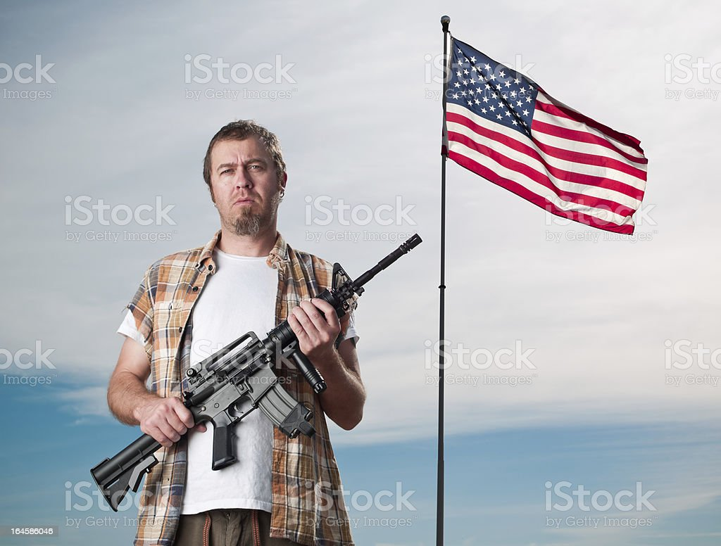 American with an Assault Weapon stock photo