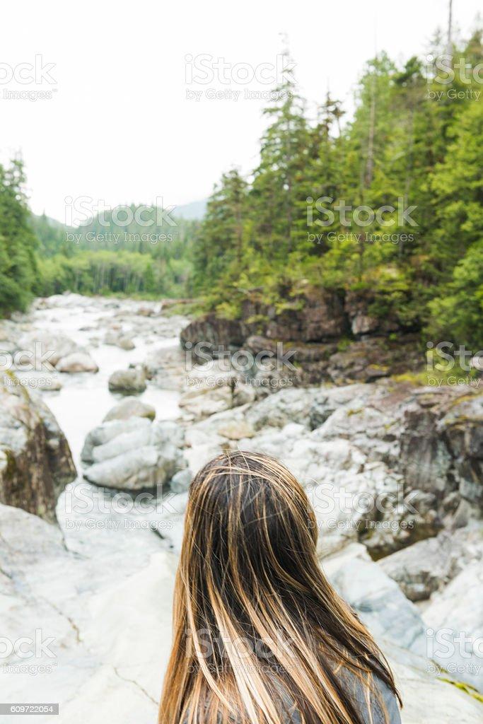 American Woman Enjoying Beautiful Scenic Landscape Vancouver Island Canada stock photo