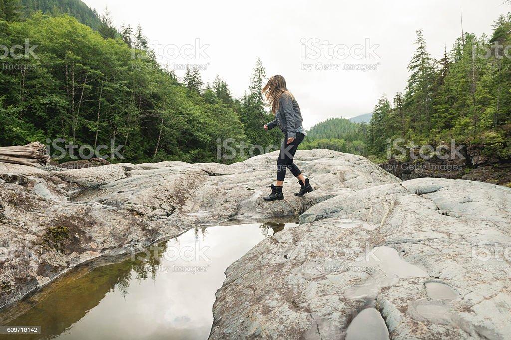 American Woman Hiking Beautiful Scenic Landscape Vancouver Island Canada stock photo