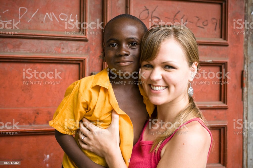 American Woman With African Child royalty-free stock photo