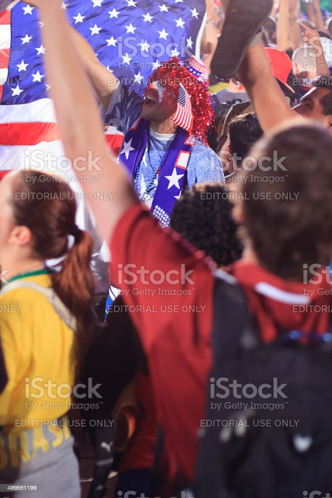 American World Cup Fans gather a FIFA match royalty-free stock photo