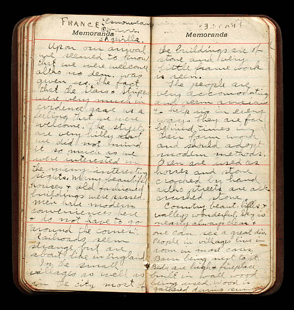 American WWI Soldier Diary Pages stock photo