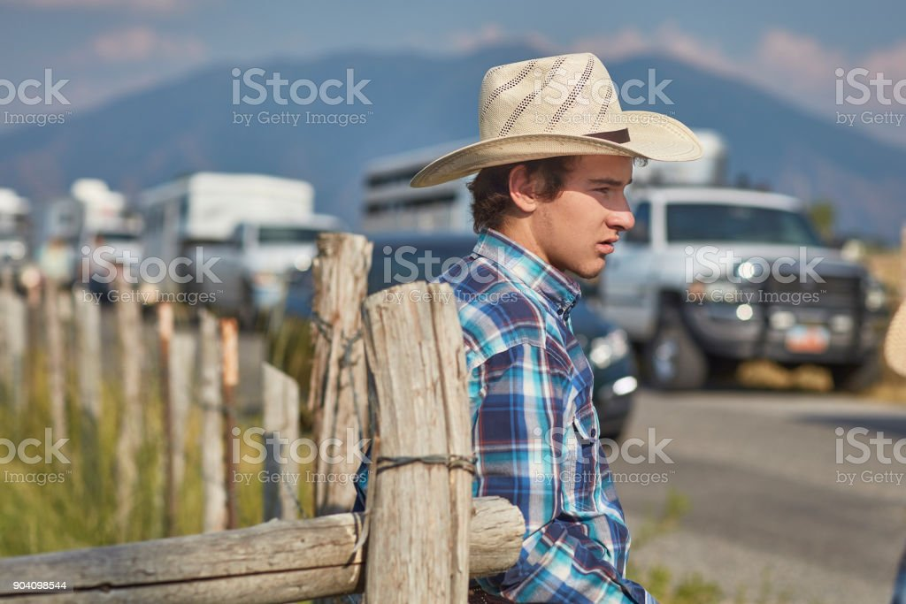 American young farmer leaning on fence stock photo