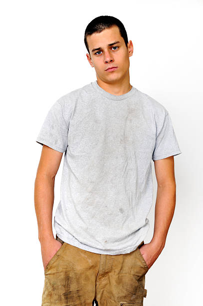 American Youth Laborer Portrait stock photo