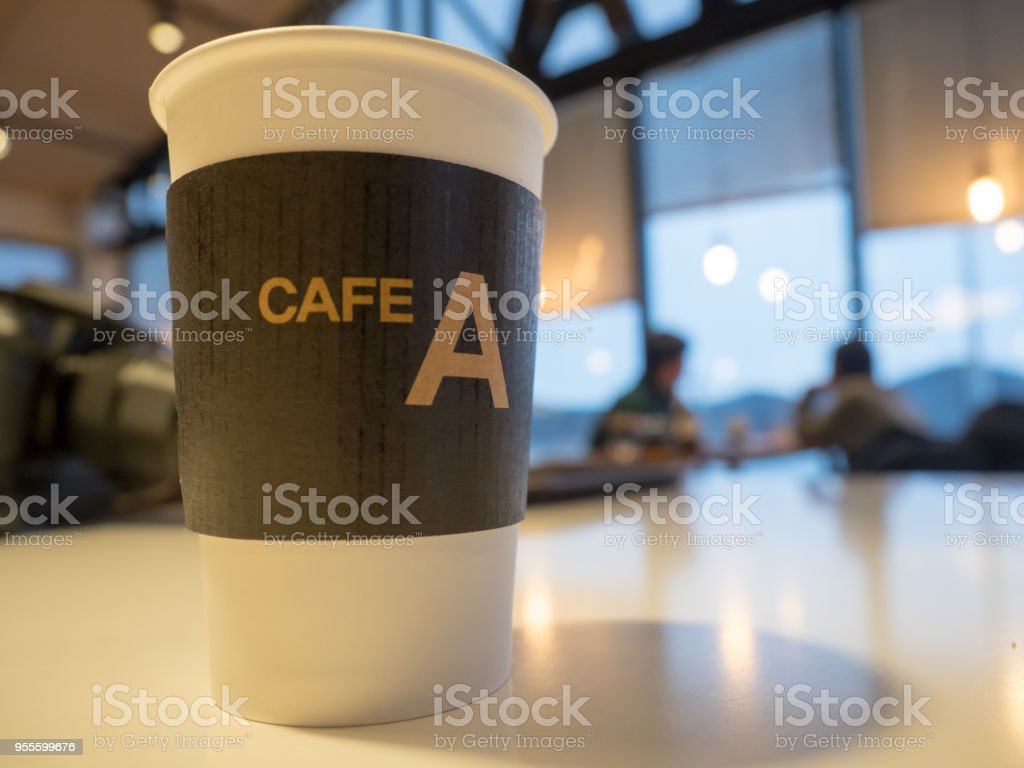 Americano coffee cups in a cafe stock photo