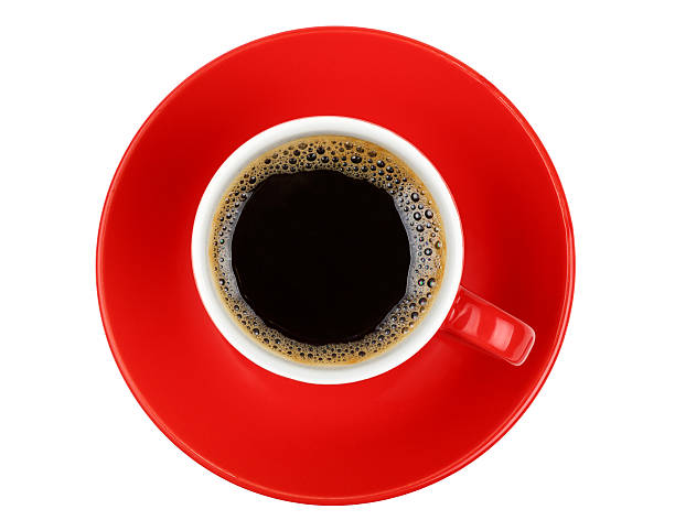 Americano coffee in red cup isolated on white stock photo