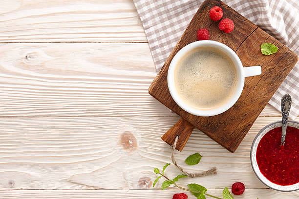 Americano coffee with croissants and jam stock photo