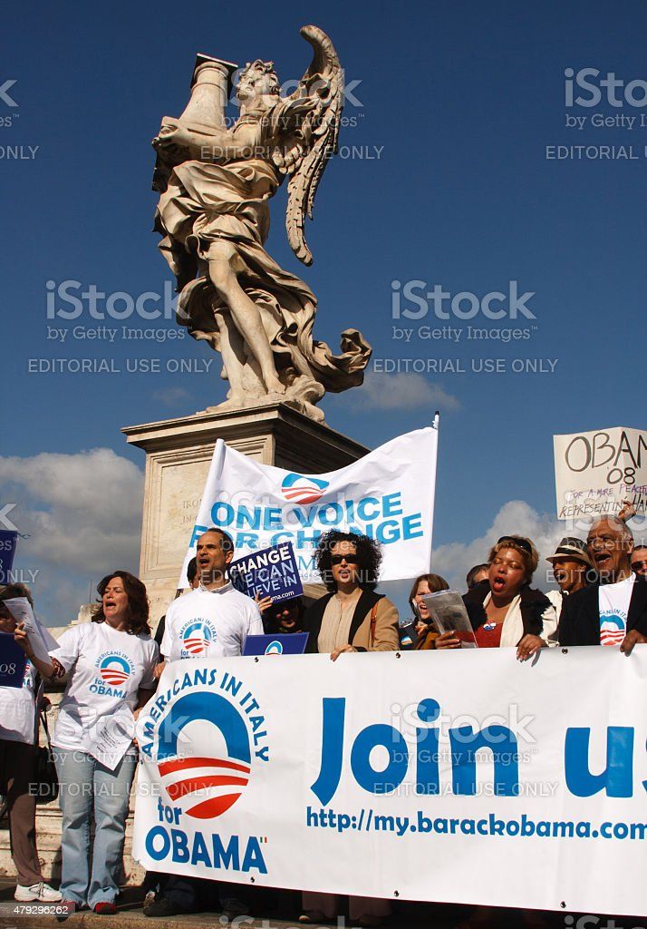 'Americans In Italy for Obama' Group at Rally, Rome, Italy stock photo