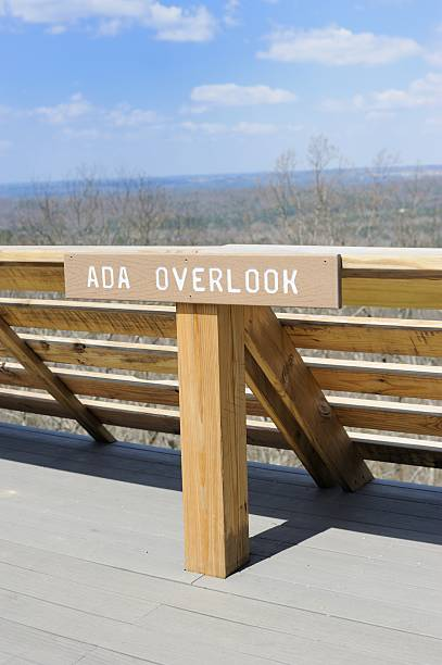 Americans with disabilities act overlook sign stock photo