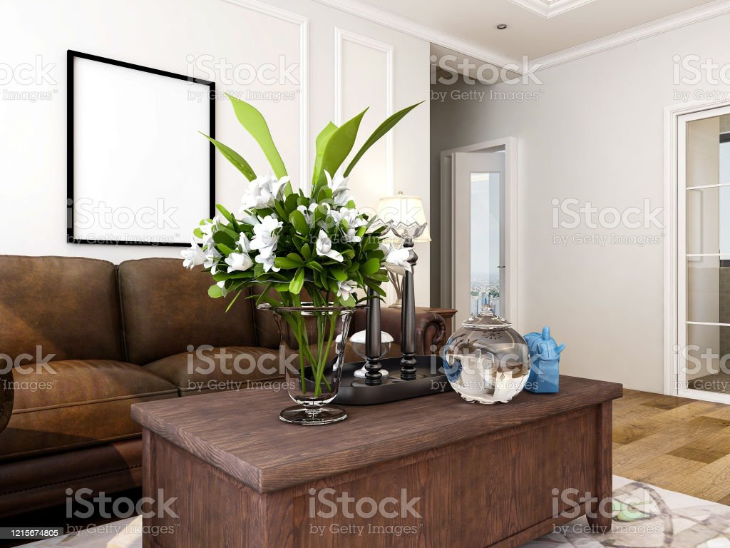 Americanstyle Design Living Room With Dining Table Projector Sofa Coffee Table Etc Stock Photo Download Image Now Istock