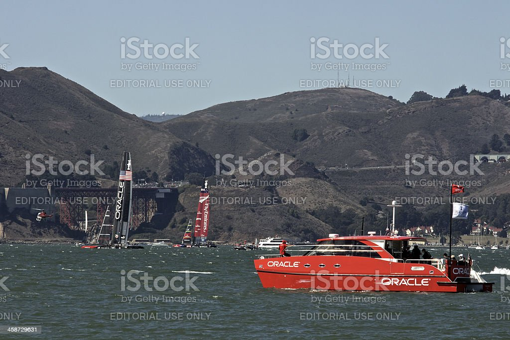 America's Cup NZ VS USA and Oracle boat royalty-free stock photo