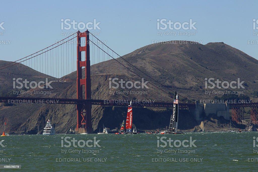 America's Cup NZ VS USA Golden Gate Bridge SF royalty-free stock photo