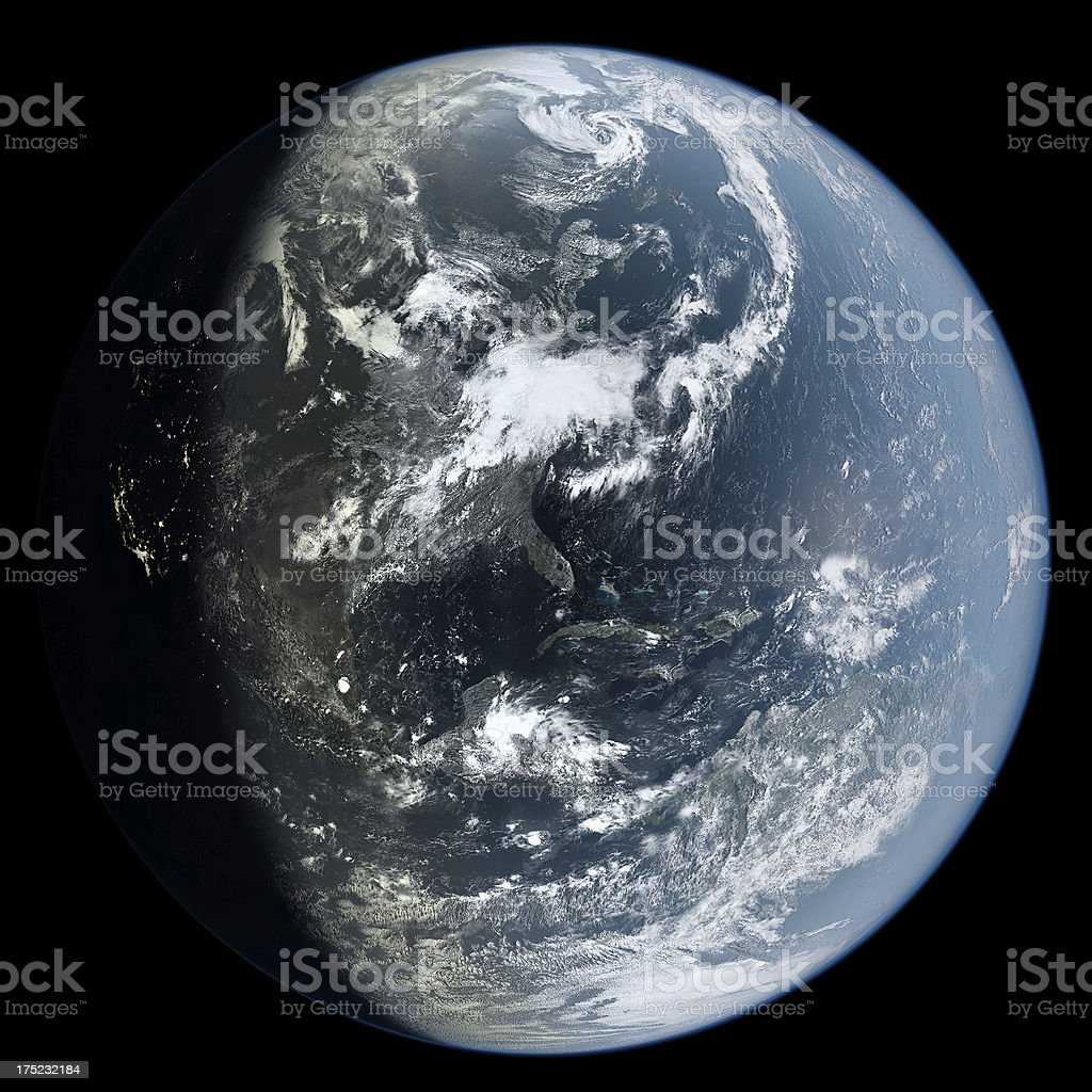 Americas from Space (at dusk) stock photo