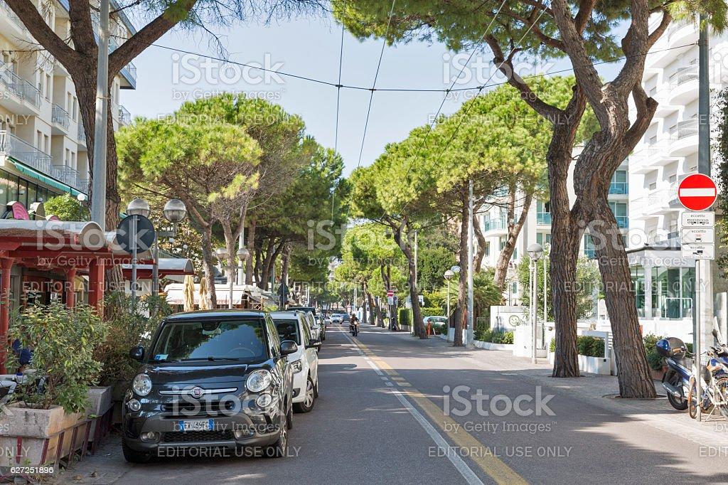 Amerigo Vespucci Avenue in Rimini, Italy. - foto stock
