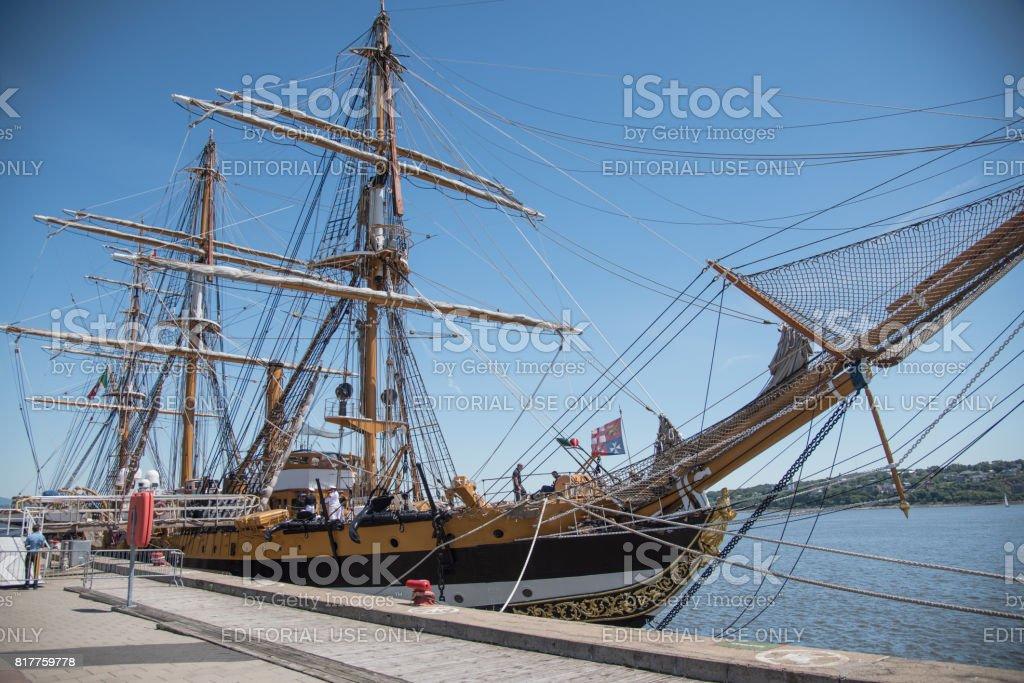 Amerigo Vespucci, the Italian Navy's 87-year-old sail training ship moored in the pier. - foto stock