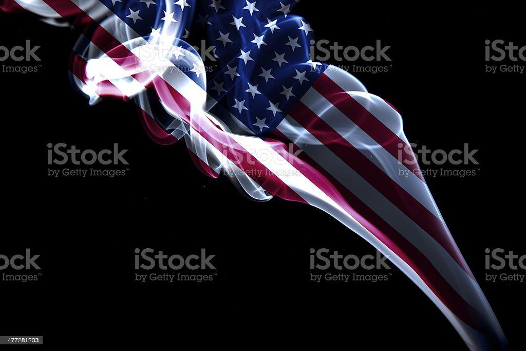 Amerikan flag on smoke stock photo