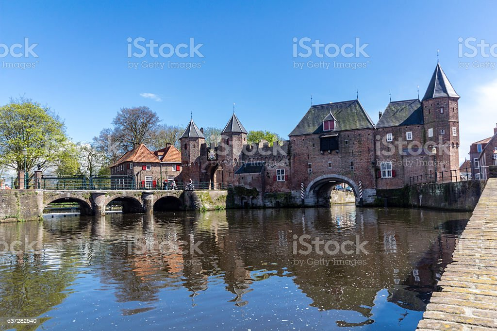 Amersfoort Medieval town wall Koppelpoort and the Eem river stock photo