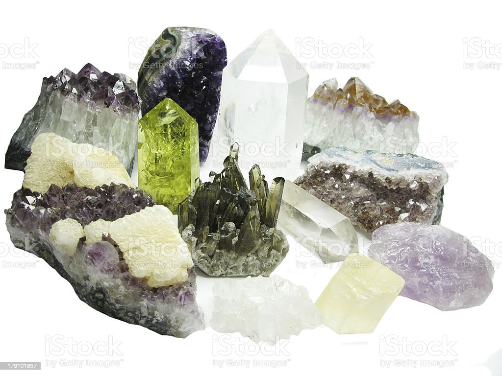 amethyst citrine quartz set geode geological crystals royalty-free stock photo