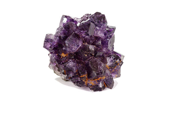 Cтоковое фото Amethyst Crystal Druse  macro mineral on white background