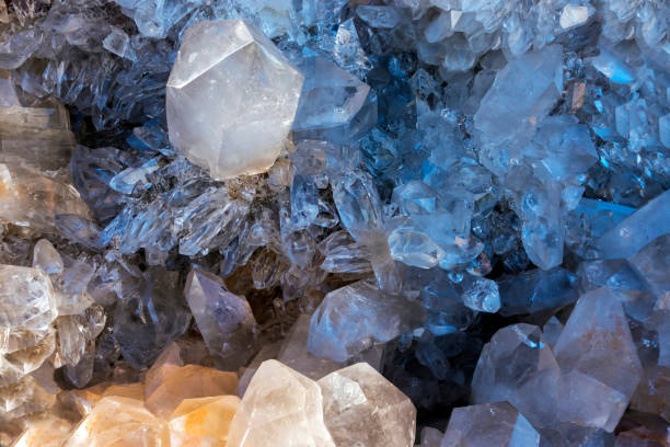 Amethyst crystals and other crystals stock photo