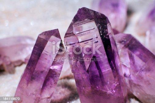 macro shot of amethyst crystals