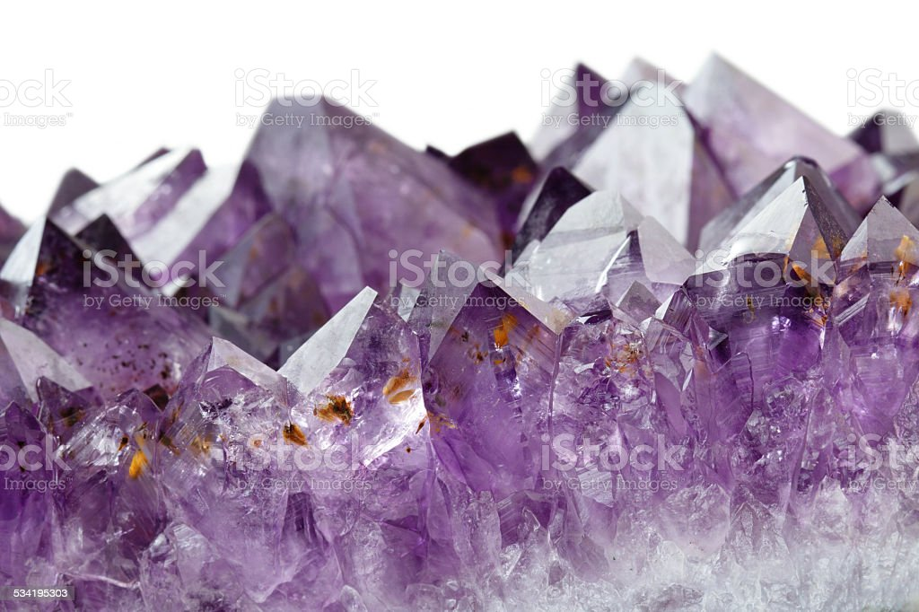 amethyst crystals stock photo
