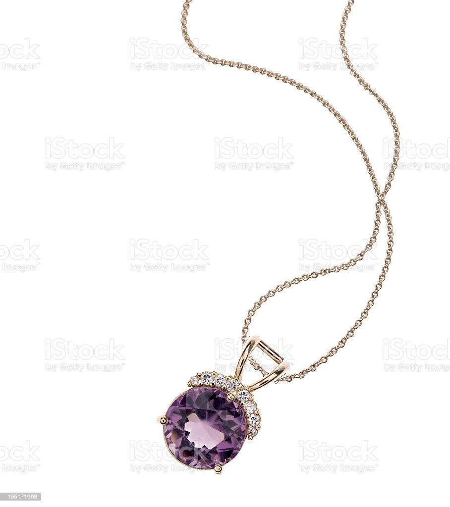 Amethyst & Diamond Necklace stock photo