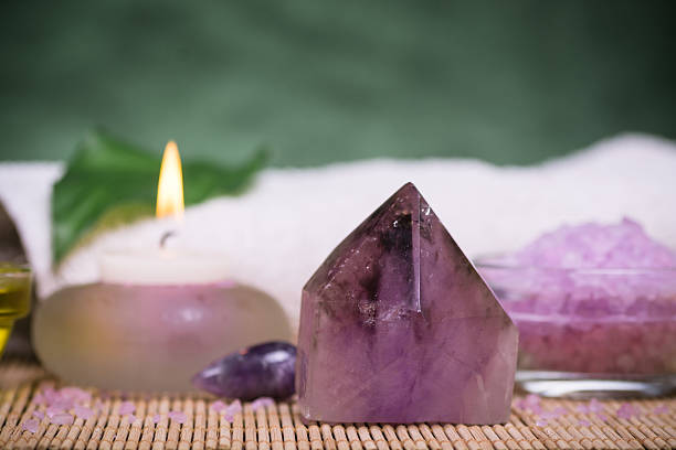 Amethyst gemstone Aroma and crystal spa therapy crystal healing stock pictures, royalty-free photos & images