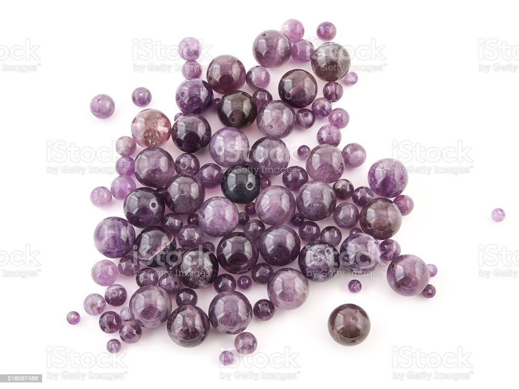 Amethyst natural crystals gem isolated on white background stock photo
