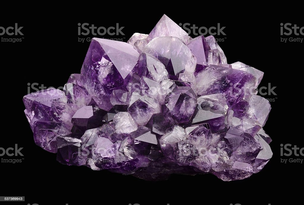 Amethyst over Black Background stock photo