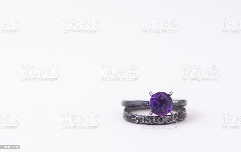 Amethyst Ring Isolated on White Background royalty-free stock photo