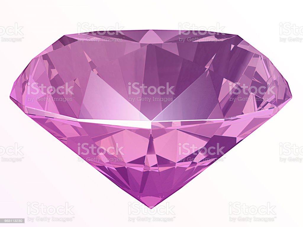 Amethyst, spinel or kunzite side view 3D illustration stock photo