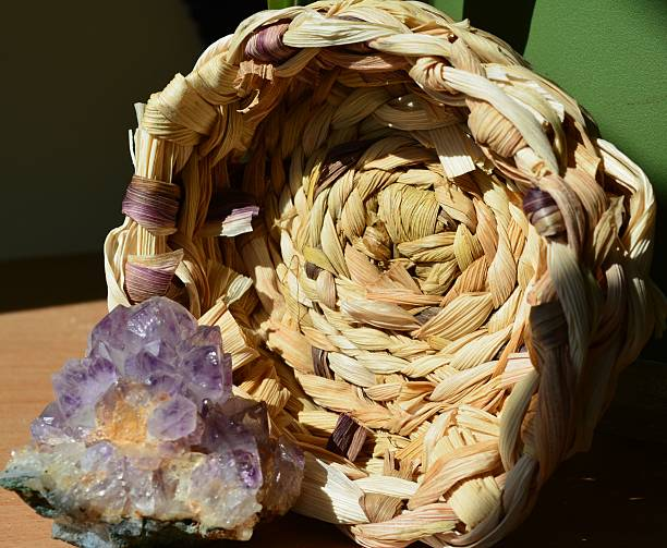 Amethyst with Baskedt stock photo