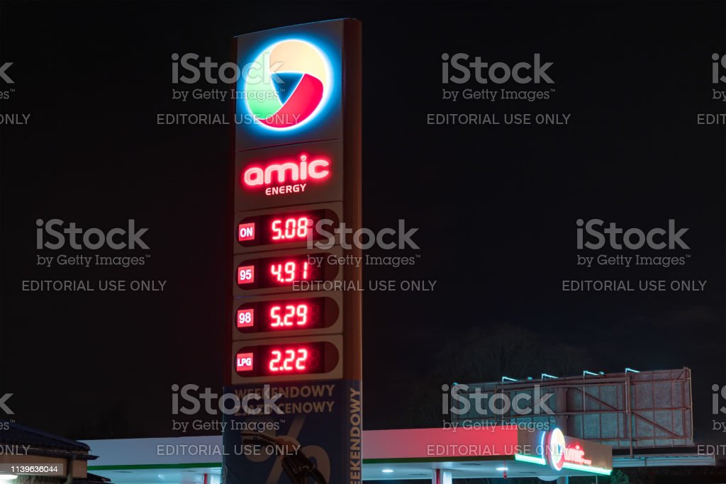 Amic Energy petrol station at night. stock photo