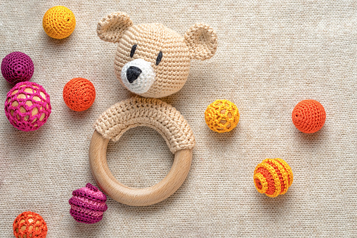 amigurumi toy bear and crocheted beads