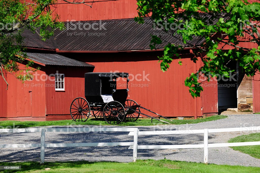 Amish Barn and Buggy stock photo