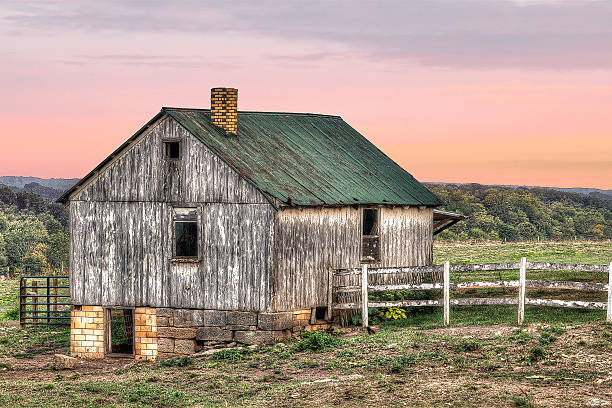 Amish Barn at Dusk stock photo
