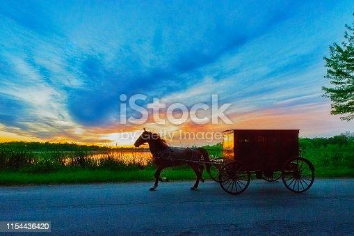 Amish Buggy at Dusk on Rural Indiana Road