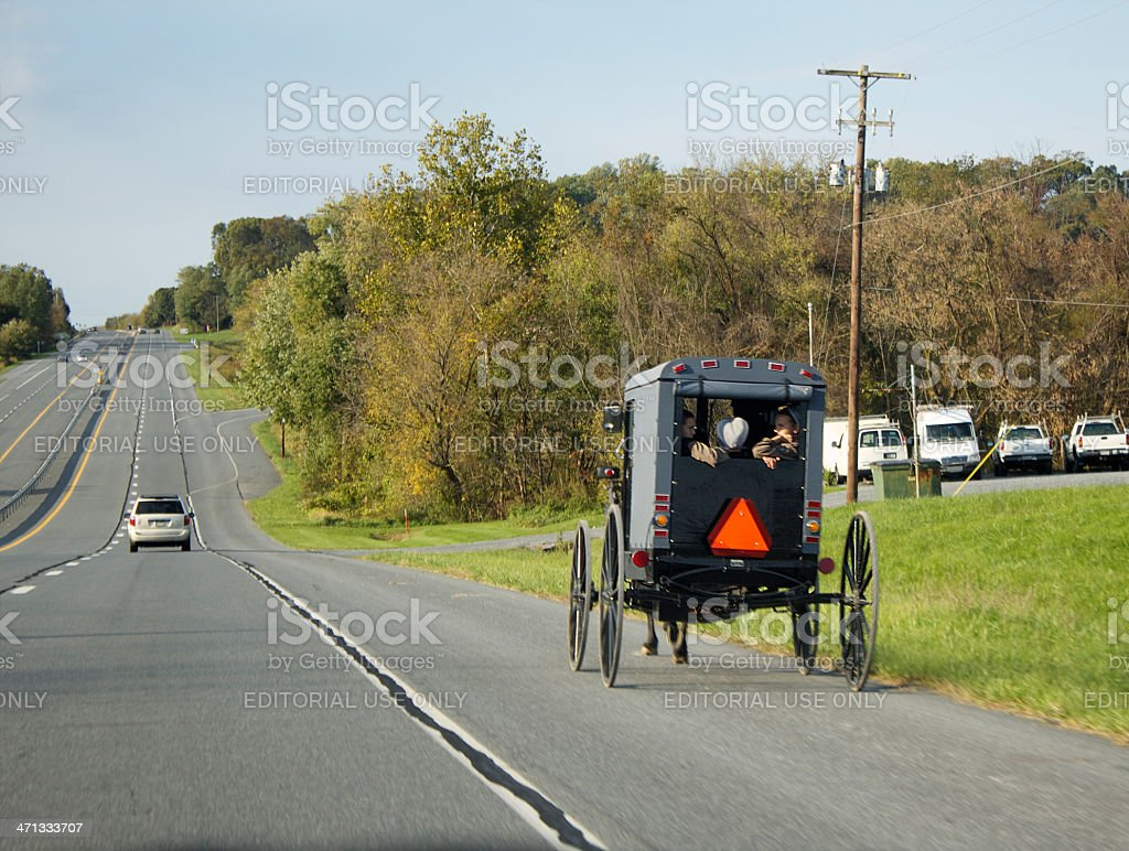Amish Buggy Going to Town stock photo