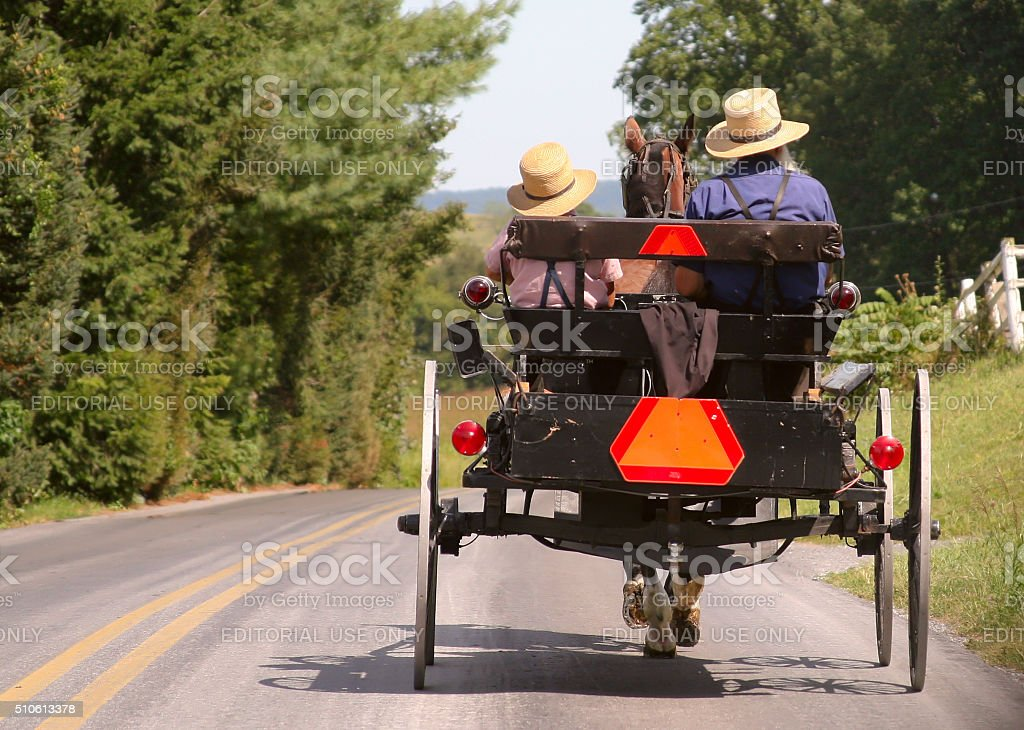 Amish Buggy in Lancaster, PA stock photo